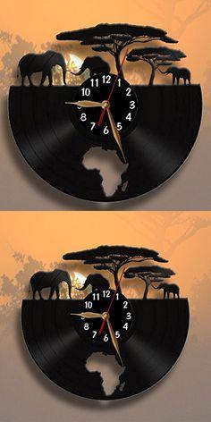 Africa, Elephants Clock, Vinyl Record Wall Clock 12 inch / Modern, Animals, Black Wall Art Decor Laser cut of Vintage Vinyl Record