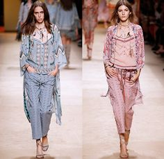 Etro 2015 Spring Summer Womens Runway Looks - Milano Moda Donna Collezione Milan Fashion Week Italy Camera Nazionale della Moda Italiana - 1970s Seventies Hippie Boho Bohemian Chic Denim Jeans Drapery Prints Graphic Tribal Fringes Poncho Wrap Ruffles Native American Ornamental Print Decorative Art Embroidery Outerwear Jacket Printed Jeans Braid Shorts Boots Gladiator Chunky Knit Shawl Noodle Spaghetti Strap Maxi Dress