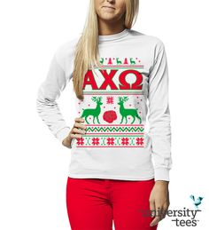 Green, red, and reindeer all over | Alpha Chi Omega | Made by University Tees | www.universitytees.com
