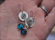 Pau Shell Blue Green. Swirls. sterling silver by KittyStoykovich, $48.00