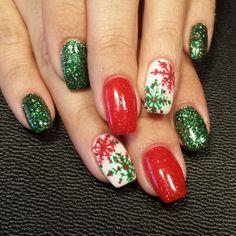 Light Elegance/hard gel nails Christmas Nails/handpainted  Instagram: styleandgracesalon  Facebook: Gel Nails By Nichole