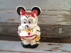 Vintage 1940's Mickey Minnie Mouse Turnabout Cookie Jar