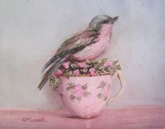Ready to Frame Print - Bird in a Pink Tea Cup - Postage is included Worldwide