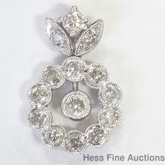 Vintage 14k White Gold Genuine Diamond Flower Dangle Pendant #Pendant