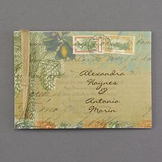 A translucent layer with a tropical postcard design joins the shimmer card with jute cord to make this the perfect destination wedding invitation. Beach Theme Wedding Invitations, Beautiful Wedding Invitations, Wedding Invitation Design, Beach Wedding Inspiration, Wedding Ideas, Postcard Design, Envelope Liners, Flower Decorations, Invitation Cards