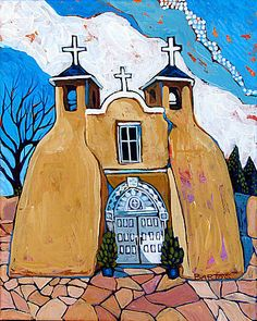 Ranchos de Taos by Sally Bartos, New Mexico artist. Her work is available from bartos on Etsy.