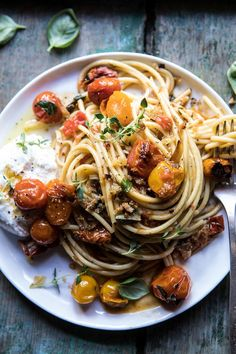 Skillet Burst Cherry Tomato Summer Pasta with Lemony Breadcrumbs | halfbakedharvest.com #pasta #tomatoes #burrata #summerrecipes
