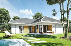 Projekt domu Parterowy 118,23 m2 - koszt budowy 184 tys. zł - EXTRADOM Home Living Room, Planer, House Plans, Sweet Home, House Design, Mansions, House Styles, Outdoor Decor, Interior