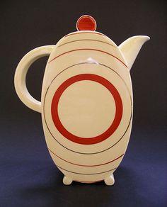 STUNNING ART DECO CERAMICS: CLARICE CLIFF BON JOUR SHAPE TARGET PATTERN COFFEE SET SIX PIECES C.1933-1935 IMAGE THREE