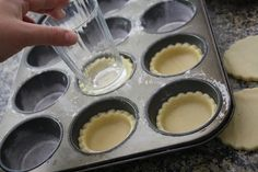 "Take your favourite sugar cookie Doug recipe; and use a 3"" cookie cutter to cut your mini pies! Place your rounds into a muffin tin and poke holes with a fork. Bake at 350 for ten minutes."