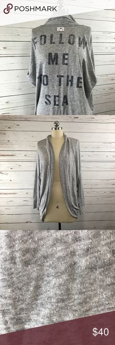 "Anthropologie Sundry Follow Me Grey Cardigan S Sundry ""Follow me to the sea"" grey cardigan from Anthropologie. Women's size small. Super soft and stretchy   Please note: Lots of pilling. Otherwise very good condition  Measurements (taken with garment laying flat):  Armpit-to-armpit: 26 inches  Shoulder to hem length: 28 inches   Mannequin on display is a size 4. Sundry Sweaters Cardigans"