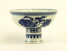 Chinese Blue and White Decorated Porcelain Stem Cup. Apocryphal Ch'ing Dynasty Qianlong (1736-1795) Underglaze Reign Mark