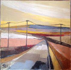BELIE. Je souhaitais peindre la route au lever du soleil un matin d'été. J'ai travaillé sur la lumière du matin, le sentiment de solitude et de vide. C'est un petit format mais il m'a donné du fil à retordre car je voulais que l'on puisse avoir l'impression que cette route était la vôtre.
