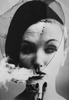 Smoke and Veil, 1958, William Klein (I've been told this is Evelyn Tripp, not Barbara Mullen - my apologies for incorrect info)
