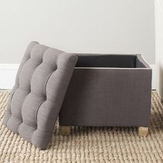 Safavieh Amelia Tufted Heather Grey Storage Ottoman | Overstock.com Shopping - The Best Deals on Ottomans