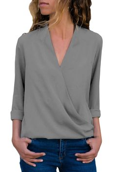 c9427f97342 Cheap Grey Wrap Front Long Sleeve Blouse only US$ 6.88, Blouses & Shirts  Drop
