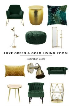Luxe Green and Gold Living Room Inspiration Board. Sumptuous green living room décor, with bold brass and gold coloured side table, lighting and accessories. Create your dream living room at www.furnishful.co.uk where you can add items you love to your very own Inspiration Board and get ideas and inspiration on how to style your home - from furniture to soft furnishings and everything in between.