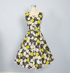 Vintage 1950's Black & Yellow Cotton Party Dress /// by JLVintage, $68.00
