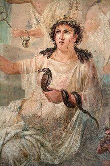 Isis the Great Mother Goddess a serpent goddess. Roman fresco from the temple of Isis in Pompeii