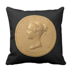 Queen Victoria Coin Throw Pillow - home gifts ideas decor special unique custom individual customized individualized