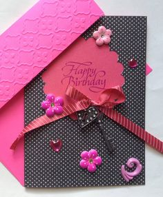 #cards Happy Birthday Charm Card  Handmade by PrincessMouseyCards on Etsy, $5.00