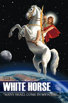 horse of the apocalypse- biblical symbol: Rev Jesus wearing a crown and white garments, wielding a bow and mounted on top of a white horse symbolizing righteous and holy war. He is also to conquer nations as his inheritance. Revelation Bible Study, Biblical Symbols, Horsemen Of The Apocalypse, Jesus Is Coming, Jesus Art, Jesus Is Lord, Jesus Christ, Jesus Pictures, Street Fighter