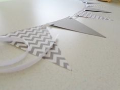 Gray Chevron Paper Bunting Paper Garland Pennant Banner - Decorations for the fence Chevron Paper, Paper Bunting, Gray Chevron, Airplane Party, Pennant Banners, Reveal Parties, Gender Reveal, Erika, Decoration