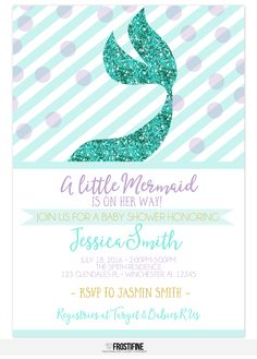 mermaid baby shower invitation for your under the sea party theme teal aqua