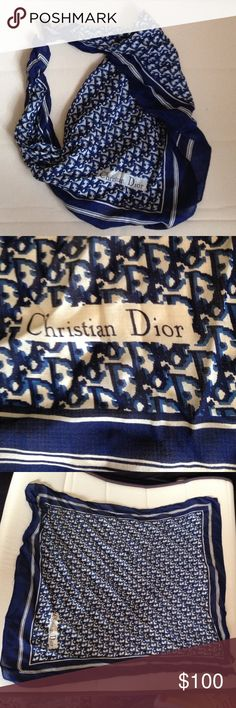🎄100% Silk Christian Dior Vintage Scarf 100% Silk Vintage (1976-80) Christian Dior Scarf * Sheer Silk * Machine Stitched * Blue-White/Cream Christian Dior Accessories Scarves & Wraps