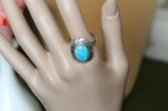 Gorgeous Domed Turquoise in a Sterling Silver by KeepGrandmaBusy