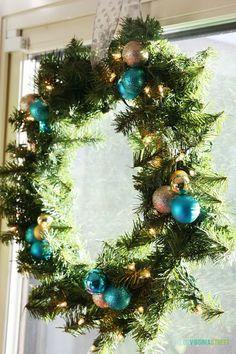 Blue Christmas Blog Hop: Wreaths - how to easily add ornaments to plain wreaths
