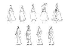 1700's men & women.  By Hellcorpcep // Fun. I enjoy this type of historical-fashion infographic.