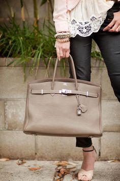 Lace top + arm candy + leather pants + Hermes Birkin bag <3