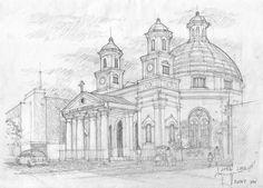 Blendug Church  Semarang Pencil Sketch