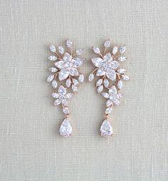 Rose gold Bridal earrings Crystal Wedding earrings Bridal How to Choose a Pair of Handmade Earrings Diamond Earrings Indian, Gold Bridal Earrings, Rose Gold Earrings, Wedding Earrings, Leaf Earrings, Chandelier Earrings, Crystal Earrings, Wedding Jewelry, Ruby Earrings