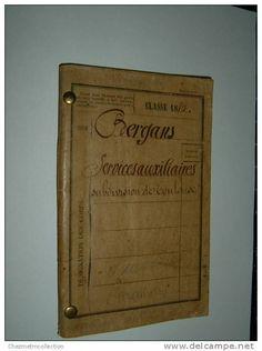 LIVRET MILITAIRE 1880 BERGANS ANDRE AURIN SAUSSENS CARAMAN HAUTE GARONNE TOULOUSE SERVICES AUXILIAIRES