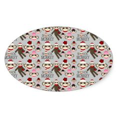 Cute Red and Pink Sock Monkeys Collage Pattern Oval Stickers