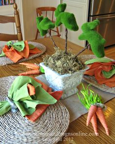 Easter Tablescapes for Everyday Living...orange/green napkins (carrot!)
