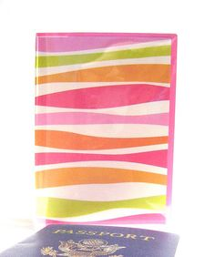 Passport cover stripes lime hot pink orange by suzyssentiments, $5.00