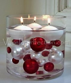 95 Red & White Pearls w/ Gems Accents-Jumbo/Assorted Sizes Vase Fillers for Decorating Centerpieces Simple Christmas, Christmas Home, Christmas Crafts, Christmas Ornaments, Winter Christmas, Xmas, Ornaments Ideas, Christmas Music, Rustic Christmas