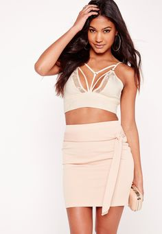 Missguided - Harness Detail Lace Bralet Nude