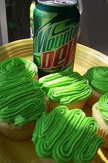 Mountain Dew Cupcakes  By cupcake girl on December 5th, 2007 . Any Dew or citrus lover will think they rock!    Mountain Dew Cupcakes    1 cup butter (2 sticks)  2 cups sugar  4 large eggs  3/4 cup Mountain Dew  1/4 cup of lemon and lime juice (juice from 1 lemon and 1 lime)  zest fr...