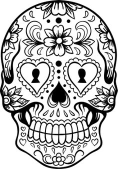 """Sugar Skull #2 """"Día de los muertos""""; We used it as a Coloring Page.  But it's a Great Transfer Pattern Too"""". You can also use these for projects with Textile Markers or Paint. ✏ Sugar Skull """"Día de los muertos"""" Template/ Stencil/ Silhouette."""