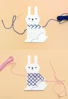 Bunny cross stitch card template / Mr Printables