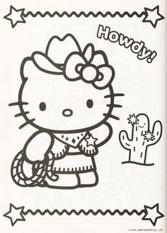 Kleurplaat Hello Kitty Howdy Coloring BookHello