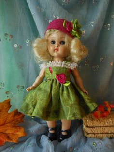 OOAK dress with hat  made to  fit Ginny Muffie dolls