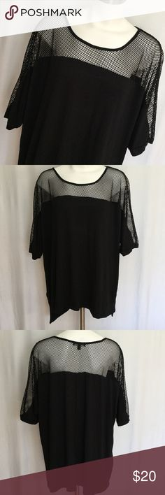 Lane Bryant Tee w/ mesh top  Lane Bryant black t-shirt with fish net mesh across shoulders and top of sleeve.Excellent Condition. Size 22 / 24. Soft stretchy tee fabric with sturdy non-stretch mesh to hold shape. Lane Bryant Tops
