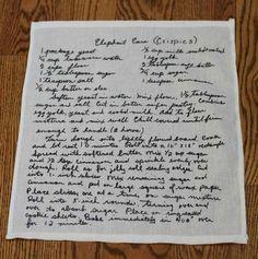 handwritten recipes printed on tea towel