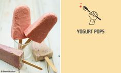 Yogurt Pops 2 small ripe bananas 6 ounces frozen strawberries or 1 cup frozen blueberries 2 cups non-fat plain yogurt 2 tablespoons honey Sweet Recipes, Real Food Recipes, Snack Recipes, Cooking Recipes, Yummy Food, Snacks, Fruit Yogurt, Healthy Yogurt, Yoghurt Lollies