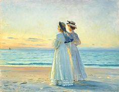 Michael Peter Ancher - Zwei Frauen am Strand von Skagen Seaside Art, Beach Art, Skagen, Jig Saw, Blue Clematis, Impressionist Artists, Anne Of Green Gables, Vintage Artwork, Figurative Art
